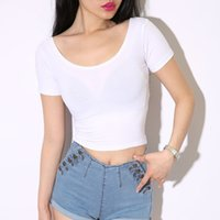 U-neck New sleeve women's short navel double exposed solid color T-shirt sexy base shirt