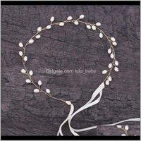 Haimeikang Women Gold Wire Blanco Pearl Flower trenzado Larga Diadema Novia Hairband Punto Hecho A Mano Accesorios Pelo Q5SID Cabeza Q5OLe