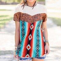 Летние топы старинные повседневные футболки напечатаны богемии стиль женщины с коротким рукавом круглые шеи полиэстер пострадавшие рубашки вечеринка 3XL женщин