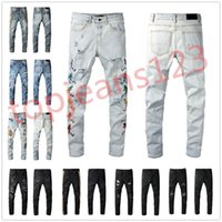 Diseñador Pantalones vaqueros de hombre apenado Long Pegado delgado 100% algodón Hip Hop Zipper Fly Fashions Man Pantalones Motocicletas Oloras Amir 1