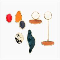 Stud 2021 Minimalist Irregular Geometric Colorful Enamel Earrings For Women Vintage Asymmetric Gold Small Earring