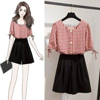 Women's Shorts Ichoix style Korean women's clothes 2 summer set beautiful red plaid turtlenecks square tops and shorts 2pcs student girl 5WRV