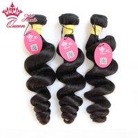 """Reina Hair Longitud mixta 12 """"-28"""" 3pcs Lot Extensiones de cabello humano Virgen peruano Color natural # 1B Lote de onda suelta 300g"""