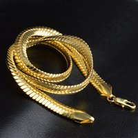Yhamni Gold Color Cold Collier Hommes Bijoux En gros Nouveau Tendance de 9 mm de large Figaro Collier Chaîne Bijoux en or 230 T2