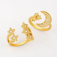 Designers Creative diamond female star moon ring rij54