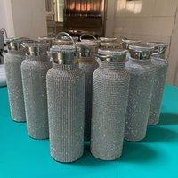 Köpüklü High-end Yalıtımlı Şişe Bling Rhinestone Paslanmaz Çelik Termal Şişe Elmas Termo Gümüş Su Şişesi Kapaklı 245 S2