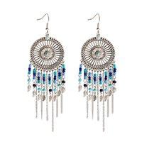 Vintage perles bleue ethnique longue glissière pompon danger pangle dangle d'oreilles élégantes femmes rondes alliage bijoux tibétains dames boucle d'oreille