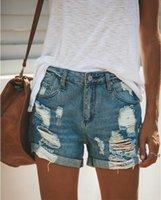 Yaz Denim Kısa Kot Kadınlar Seksi Yüksek Bel Delik Yırtık Şort Moda Rahat Slim Artı Boyutu Lady Pantolon Kadınlar