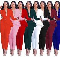 Spring Autumn Women's Tracksuits Full Sleeve Ruffles Blazers Pants Suit Two Piece Set Office Lady business wear uniform