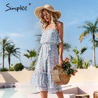Simplee Mavi Çiçek Baskılı Sling Kadınlar Elbise Yaz Eğlence Tatil Tarzı Yüksek Bel Midi Elbiseler Casual Fırfır Kadın