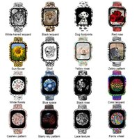 Glass Case+Watch Strap For Apple Watch band 44mm 40mm 38mm 42mm Women Printing Watchband Silicone Bracelet iWatch serie 3 4 5 6 se