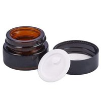 5g 10g 15g 20g 30g 50g Amber Brown Glass Jars Face Cream Bottle Cosmetic Sample Container Empty Refillable Pot with Inner Liners and Black Lids