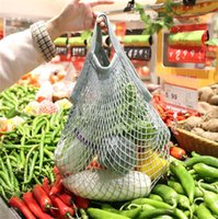 Home Storage Bags Reusable Shopping bag Fruit Vegetables Grocery Shopper Tote Mesh Net Woven Cotton Hand Totes A B style RRD7671