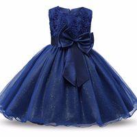 Summer Sera Party Girl Dress Applicare Neonato fino a 9 anni Ragazze Multi Colors Bow Brow Flower Pattern Bambino Abiti Grazia Bambini Vestiti 38xc L2