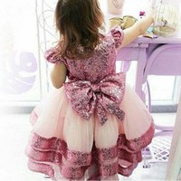 Girl's Dresses BlingBling Sequined Capped Sleeves Flower Girls With Bow Birthday Party Wedding Gowns Tiered Tulle Pageant Vestidos