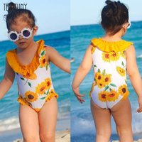 One-Pieces Girls Bikini Sleeveless Lace Floral Print One-piece Swimsuit All-in-one Swimwear Beachwear