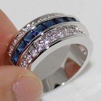 Размер 8 Vecalon Handmade Blue Sapphire Gemstone Crystal 10KT Белое золото заполнено кольцевая полоса женское подарок