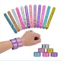 Девушки русалки блестики шлепки защелкивающиеся браслет партии сияющий браслет мода дети мальчики ювелирные изделия красочные детские день рождения Partys подарок DHB6731