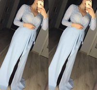 Ice Blue Arabic Prom Dresses 2021 Sexy V Neck Long Sleeves Shiny Sequins Beaded Front Slit Formal Party Gowns Sweep Train Modern Mother Of Bride Evening Dress AL9064