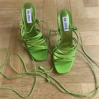 Sommer Neue Stil Sexy Dame Mode Frauen Schuhe Grün Satin Riemchen Knöchel High Heels Sandalen
