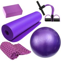 Tapis de yoga 5pcs Home Home Fitness Kit Ball Tapis de serviette antidérapante EXERCICE SPORT ESISISTANCE-BAND TOOL