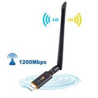 USB 3.0 1200 ميغابت في الثانية محول WIFI المزدوج باند 5 جيجا هرتز 2.4 جيجا هرتز 802.11AC بطاقة شبكة دونغل للكمبيوتر المحمول لسطح المكتب