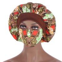 African Pattern Print Satin Bonnet Hijabs Hat Women Night Sp Cap with Mask Turban Extra Large Head Wear Lady Head Wrap Hat