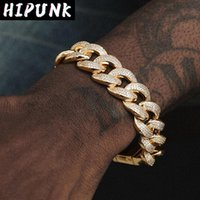 Link, Chain Mans Gold Color Miami Cuban Link Bracelet Iced Out Hip Hop Jewelry Micro Paved CZ Rapper For Women