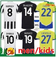 21 22 Jersey de football 2021 2022 Dybala Morata Chiesa McKennie Juventus Accueil 3ème Football Kit Kit Kit Chemise + Hommes