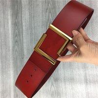 2021 designer's 7cm wide belts black and red figure gold belt buckle box AA880