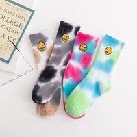 Drew Haus Krawatte Dye Smiley Gesicht Gezeiten Socken Männer Straße Trend Tube Mode Sports Socke Weibliche Baumwolle Atmungsaktive Designer 4 Farben