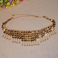 Beaded Waist Golden Silver Gypsy Tribal Belt Belly Dance Metal Hip Scarf Coins With Jingle Stage Wear