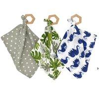 Asciugamani di saliva infantile Legno Teether Toy Cotton Toddler Bandana Dribblare Bibs Pinafore Solid Triangle Triangle Asciugamani Sea DHC6825