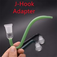 Colorido vidrio J-gancho adaptador 14 mm 18.8mm Creativo J Ganchos Hembra de tamaño masculino Junta 14.4mm 18 mm para agua de aceite de agua Bong