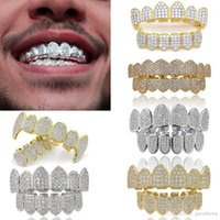 18k Real Gold Punk Hiphop Cubic Zircon Vampire Teeth Fang Grillz Dental Mouth Grills Braces Tooth Cap Rapper Jewelry For Cosplay Party