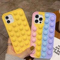 Empurre Pop It Fidget It Case 3D Descompressão 3D Capas telefônicas para iPhone 12 Pro Max 12 Mini 11 Max XR XS x 8 7 6 6S mais Silicone Silicone Rainbow Voltar Capa Móvel