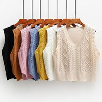 Women's Sweaters Knitted Vest Autumn Solid Sleeveless Casual V-Neck Loose Trendy Korean All-match Short Female Waistcoat Outwear