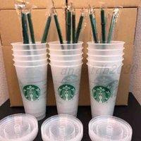 머그컵 스타 벅스 24oz / 710ml 플라스틱 머그잔 텀블러 재사용 가능한 맑은 마시는 평면 바닥 컵 기둥 모양 뚜껑 짚 머그잔 6HRF