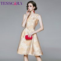 Casual Dresses TESSCARA Women Luxury Jacquard Dress Festa High Quality Elegant Wedding Party Robe Femme Vintage Designer Sleeveless Vestidos