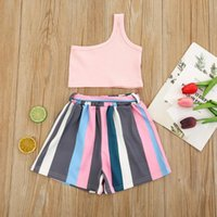 Kids Girl Clothes Set Sleeveless Tops Vest Shorts Summer Outfits Toddler Two Pieces Outifts Children Clothing Sets