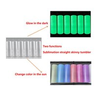 UV color changing Glow in the Dark tumbler 20oz Straight sublimation tumblers seamless stainless steel Double vacuum insulation with lid & straw