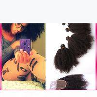 레이스 클로저와 함께 아프리카 kinky 곱슬 머리 번들 4pcs 몽고 버진 인간의 머리카락 4x4 레이스 폐쇄 흑인 여성을위한 머리 확장