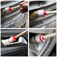 Sponge do carro 6 pcs Soft SUV Detailing Wheel Wood Handle Pincéis para Limpeza Dash Trim Assentos Handy Washable Tool