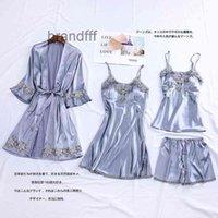 Autumn New Women's Pajama 4pcs Suit Solid Silk Sleepwear Robes Pajamas Lingerie Lace Nightwear Sexy Silk Satin Pajamas Feminino1