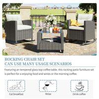 U_Style 3-delige schommelpatio meubels set rieten rotan met kussens en glazen tafel tafel voor tuin achtertuin