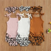 Clothing Sets 0-18M Summer Baby Girls Boys Clothes Leopard Print Sleeveless Knit Solid Romper Shorts Headband 3pcs