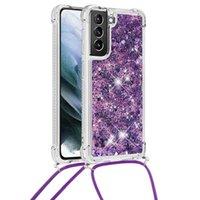 Kordon Glitter Sıvı Sparkle Samsung S21 Artı için Yüzer Kılıflar Artı 6.7inch Parlak Quicksand Temizle Yumuşak TPU Silikon Darbeye Koruyucu Ince Galaxy Telefon Kapak