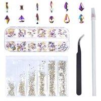 Nail Art Süslemeleri 120 adet Çoklu Şekiller Cam Kristal AB Rhinestones Craft, Mix 12 Stil Flatback Kristalleri 3D