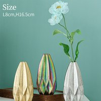 Ceramic electroplating geometric origami vase creative friends gifts desktop counter dining room jewelry