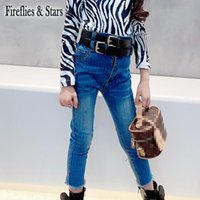 Spring Autumn Girls Jeans Baby Denim Pants Kids Trousers Children Streetwear High Waist Double Belt Strechable Quality 3 To 14 Y